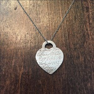 "Tiffany fifth ave heart pendant with 16"" chain 925"